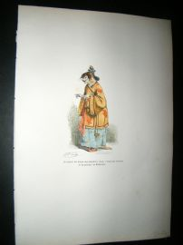 Grandville des Animaux 1842 Hand Col Print. Chinese Cat